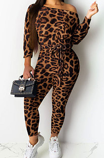 Dark Cofee Sexy Womenswear Long Sleeve Leopard Boat Neck Casual Jumpsuit NYY6043