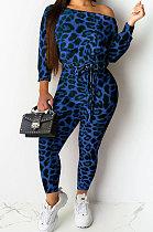 Blue Sexy Womenswear Long Sleeve Leopard Boat Neck Casual Jumpsuit NYY6043