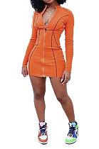فستان قصير بأكمام طويلة وسحاب مطبوع بلون نقي JZH8026