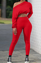 Red Midriff Long Slevee T-Shirt And Leggings Pit-Strip Two-Piece Set X9275