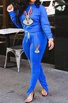 شارات مزينة بالترتر وملابس نسائية زرقاء مثيرة رياضية كاجوال من قطعتين NYY6041