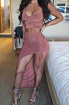 Dark Coffee Euramerican Womenswear Sexy Pure Color Deep V Neck Irregular Skirts Sets NYY6057
