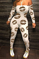 Gray Lips Sexy Plastered Chest Printing Off Shoulder Long Pants Bodycon Jumpsuits WY6744