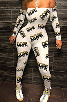 Gray DOPE1 Sexy Plastered Chest Printing Off Shoulder Long Pants Bodycon Jumpsuits WY6744