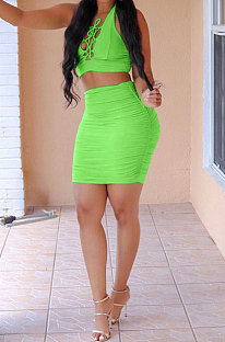 Neon Green Sexy Pure Color Deep V Neck Bowknot Skirts Sets NYY6059