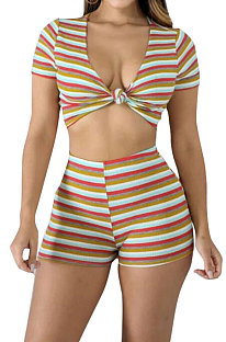 Euramerican Womenswear Club Sexy Deep V Stripe Shorts Ensembles NYY6056