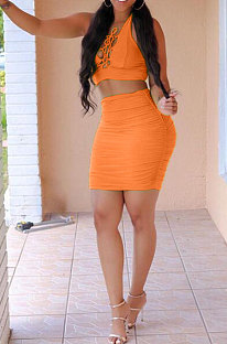 Orange Sexy Pure Color Deep V Neck Bowknot Skirts Sets NYY6059