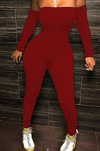 Red Sexy Plastered Chest Printing Pure Color Off Shoulder Long Pants Bodycon Jumpsuits WY6744