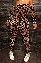 Mode léopard Sexy poitrine plâtrée impression hors épaule pantalons longs combinaisons moulantes WY6744
