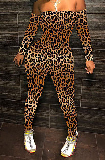 Leopard Fashion Sexy Plastered Chest Printing Off Shoulder Long Pants Bodycon Jumpsuits WY6744