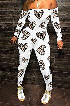 Blanc Amour Mode Sexy Poitrine Plâtrée Impression Hors Épaule Long Pantalon Moulante Combinaisons WY6744