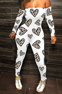 White Love Fashion Sexy Plastered Chest Printing Off Shoulder Long Pants Bodycon Jumpsuits WY6744