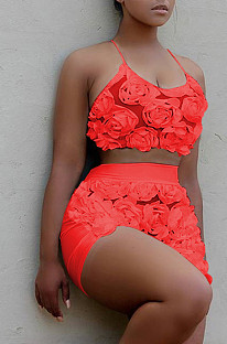 Red Night Club Un costume de pantalon à fleurs avec une sangle de cou QQM4194