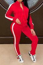 ملابس نسائية حمراء ذات لون نقي وأزياء رياضية كاجوال من قطعتين QY5041