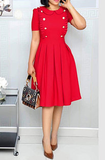 Robe mi-longue Euramerican Fashion Lotus col à volants OL manches courtes WY6540 rouge