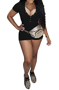 Noir Euraméricain Femmes À La Mode Casual Pure Couleur Sexy Col En V Côtes À Manches Courtes Barboteuse Shorts SM9139