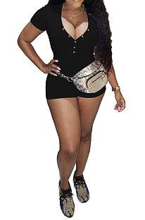 Black Euramerican Women Trendy Casual Pure Color Sexy V Neck Rib Short Sleeves Romper Shorts SM9139