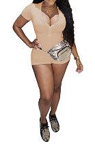 الكاكي Euramerican المرأة العصرية عارضة لون نقي مثير الخامس الرقبة الضلع قصيرة الأكمام رومبير السراويل SM9139