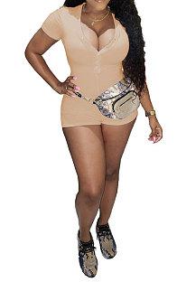 Khaki Euramerican Women Trendy Casual Pure Color Sexy V Neck Rib Short Sleeves Romper Shorts SM9139