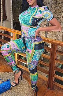 欧米の女性のファッション印刷ルーズツーピースWSY5828