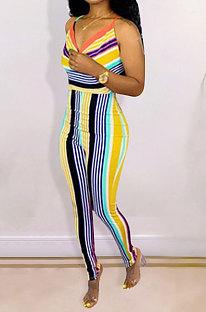 Euramerican Womenswear Backless BInd Stripe Combinaisons Serrées Sexy ED8095