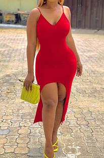 Красный сексуальный обтягивающий жилет с длинными платьями LM1077