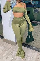 Green Euramerican Women Pure Color Boob Tube Top Hang A Neck Horn Sleeve Two-Piece MA6654