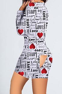 Combinaison pantalon bout à bout imprimé maison Saint Valentin noir blanc SDD9478