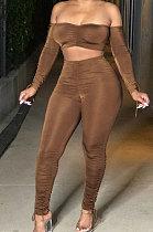 Brown Euramerican Womenswear Pure Color Boob Tube Top Drawsting Ruffle Two-Piece MA6596
