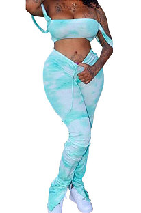 Bleu Femmes Sexy Gallus Boob Tube Top Tie Dye Drawsting Volants Long Pantalon Ensembles MA6557