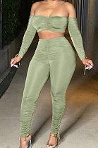 Green Euramerican Women Pure Color Boob Tube Top Drawsting Ruffle Two-Piece MA6596