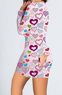 Combinaison pantalon bout à bout imprimé maison rose Saint Valentin SDD9478