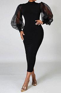 Femmes noires demi-col roulé Net fil Perspective manches bouffantes cultiver sa moralité robe mi-longue MA6561