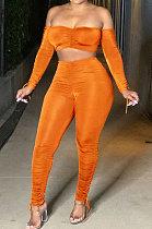 Orange Euramerican Womenswear Pure Color Boob Tube Top Drawsting Ruffle Two-Piece MA6596