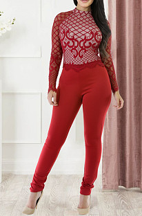 Red Fashoin Sexy Bud Silk lace Perspective Long Slevee Jumpsuits JLX2802