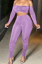 Purple Euramerican Womenswear Pure Color Boob Tube Top Drawsting Ruffle Two-Piece MA6596