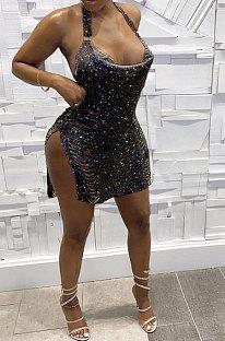 Mini robe sexy noire à paillettes de club de fourche ouverte au cou MA6656