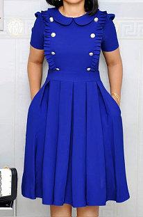 Robe mi-longue à la mode avec col de lotus à volants OL manches courtes bleu WY6540