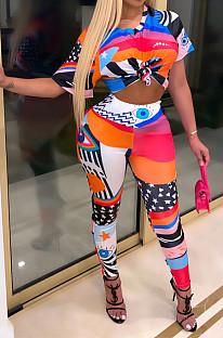 Impression de mode décontractée colorée à manches courtes pantalon long col en V deux pièces SDD9341
