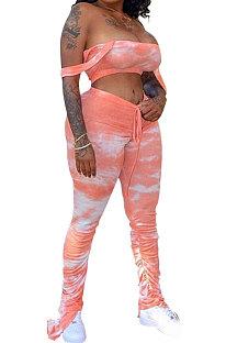 Rouge Femmes Sexy Gallus Boob Tube Top Tie Dye Drawsting Volants Long Pantalon Ensembles MA6557