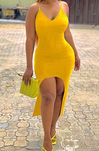 黄色のセクシーなタイトなスリングベストロングドレスLM1077