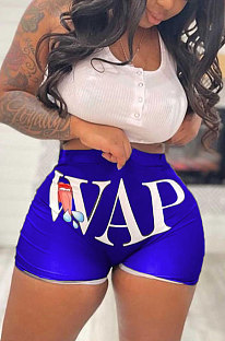 Blue Euramerican Sexy Women Pure Color Printing Shorts BLE2236