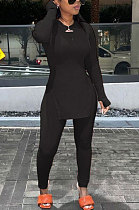 Black Round Neck Casual Long Sleeve Pencil Pants Side Open Fork Two-Pieces N9270