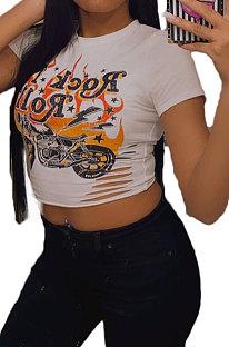 Witte Euramerican dames ronde hals afdrukken verbrande bloemenjas T-shirts BLE2235