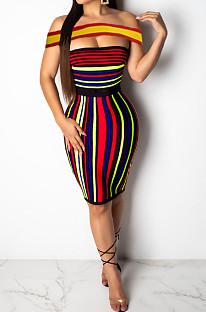 黒と赤のカジュアルなワードショルダープリントストライプがセクシーなドレスをつなぐAMM8123