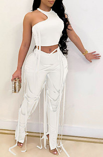 Blanc Night Club Sexy Vest Bind PU Pantalon en cuir Lmitation AL154