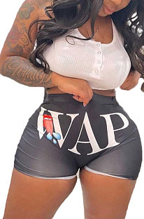 Black Euramerican Sexy Women Pure Color Printing Shorts BLE2236