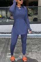 Blue Purple Round Neck Casual Long Sleeve Pencil Pants Side Open Fork Two-Pieces N9270