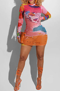 Red Women Digital Printing Sexy Net Yarn Perspective Long Sleeve Sexy Mini Dress R6404