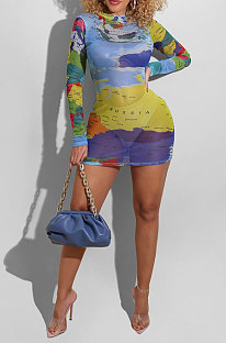 Blue Women Digital Printing Sexy Net Yarn Perspective Long Sleeve Sexy Mini Dress R6404